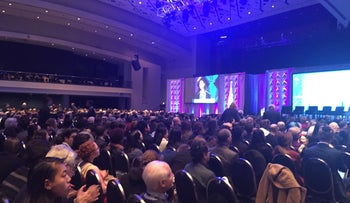 Attendees listening to a speech at the J Street 2017 National Conference, February 27, 2017.