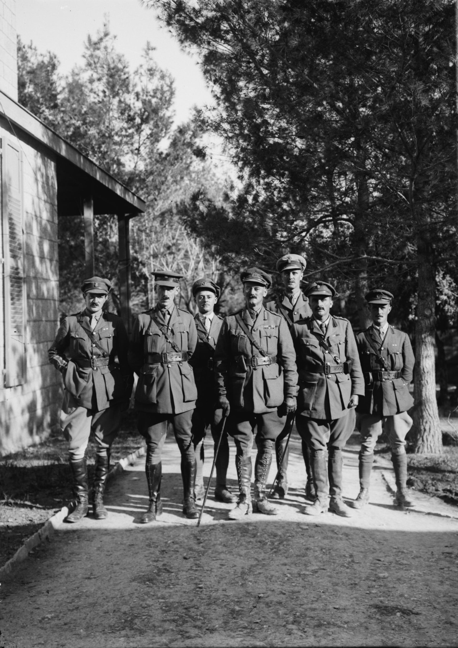 Maj.-Gen. John Shea (fourth from left) and staff at the English Hospital, Jerusalem, December 1917.