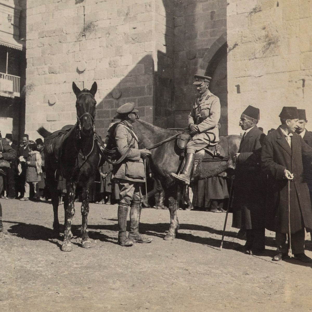 Brig.-Gen. Watson and Lt. Col. Bailey with Jerusalem Mayor Hussein al-Husseini at the Jaffa Gate, December 9, 1917