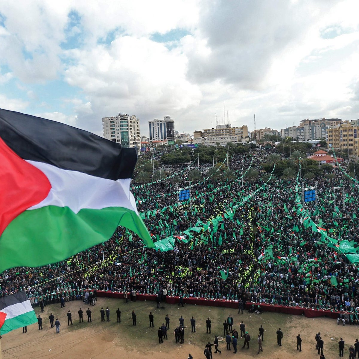 Hamas supporters take part in a rally marking the 30th anniversary of the founding of the Islamist movement, in Gaza City, on December 14, 2017.