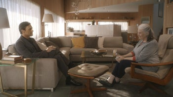 """This image released by the Sundance Institute shows Jon Hamm, left, and Lois Smith in a scene from, """"Marjorie Prime,"""" a film by Michael Almereyda. The film is an official selection of the Premieres program at the 2017 Sundance Film Festival."""