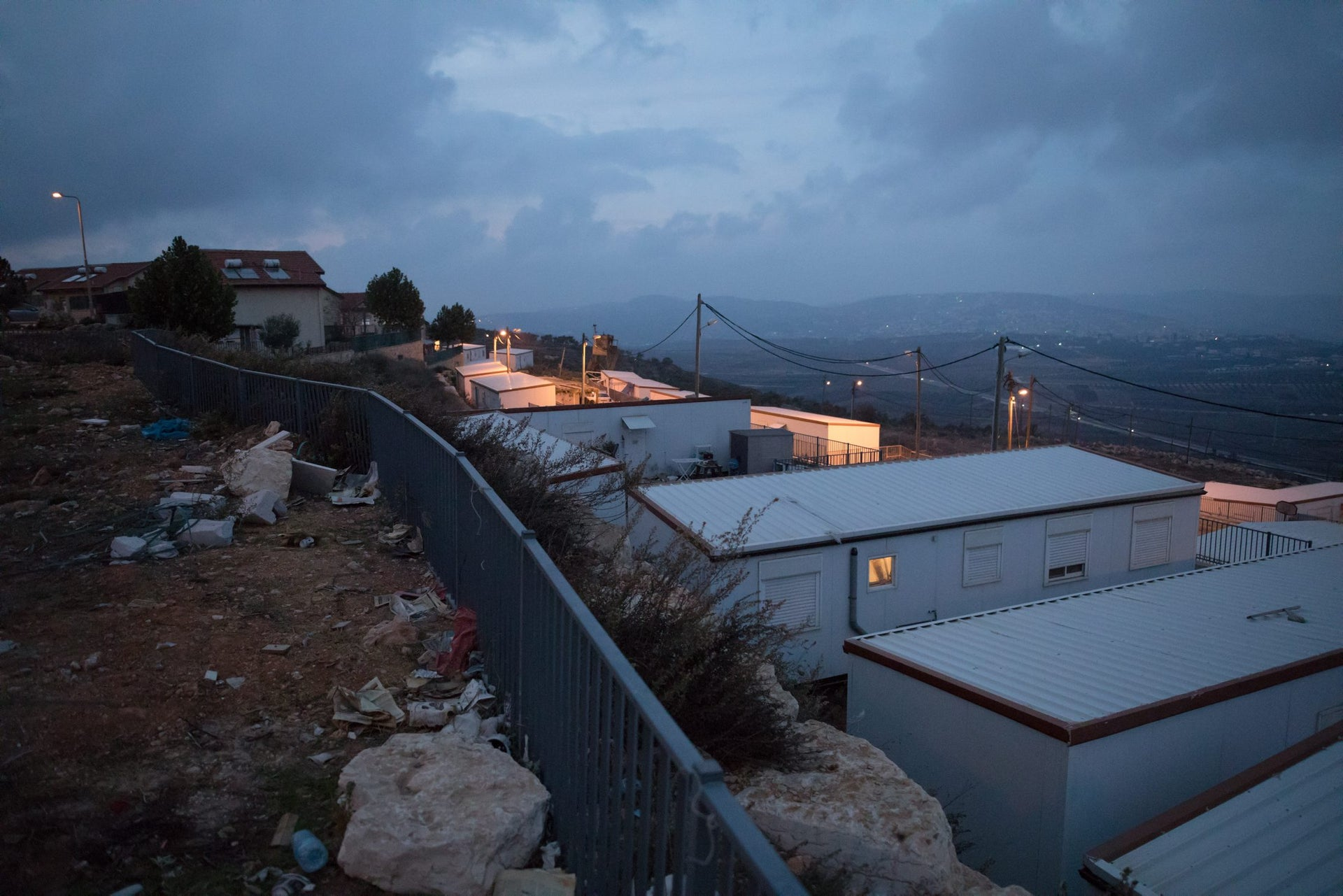 Mobile homes in the West Bank settlement of Migdalim.