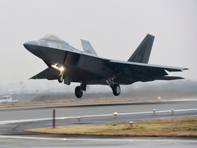 FILE PHOTO: A U.S. Air Force F-22 Raptor takes off from a South Korean air base in Gwangju, South Korea, Monday, Dec. 4, 2017.
