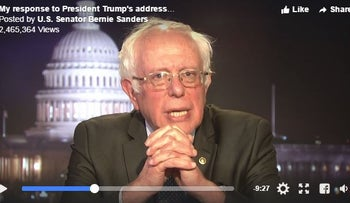 Bernie Sanders urges his supporters in response to Donald Trump's speech, 'Continue the fight.' February 28, 2017.