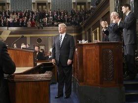 President Donald Trump applauded after delivering his first address to a joint session of Congress, February 28, 2017.