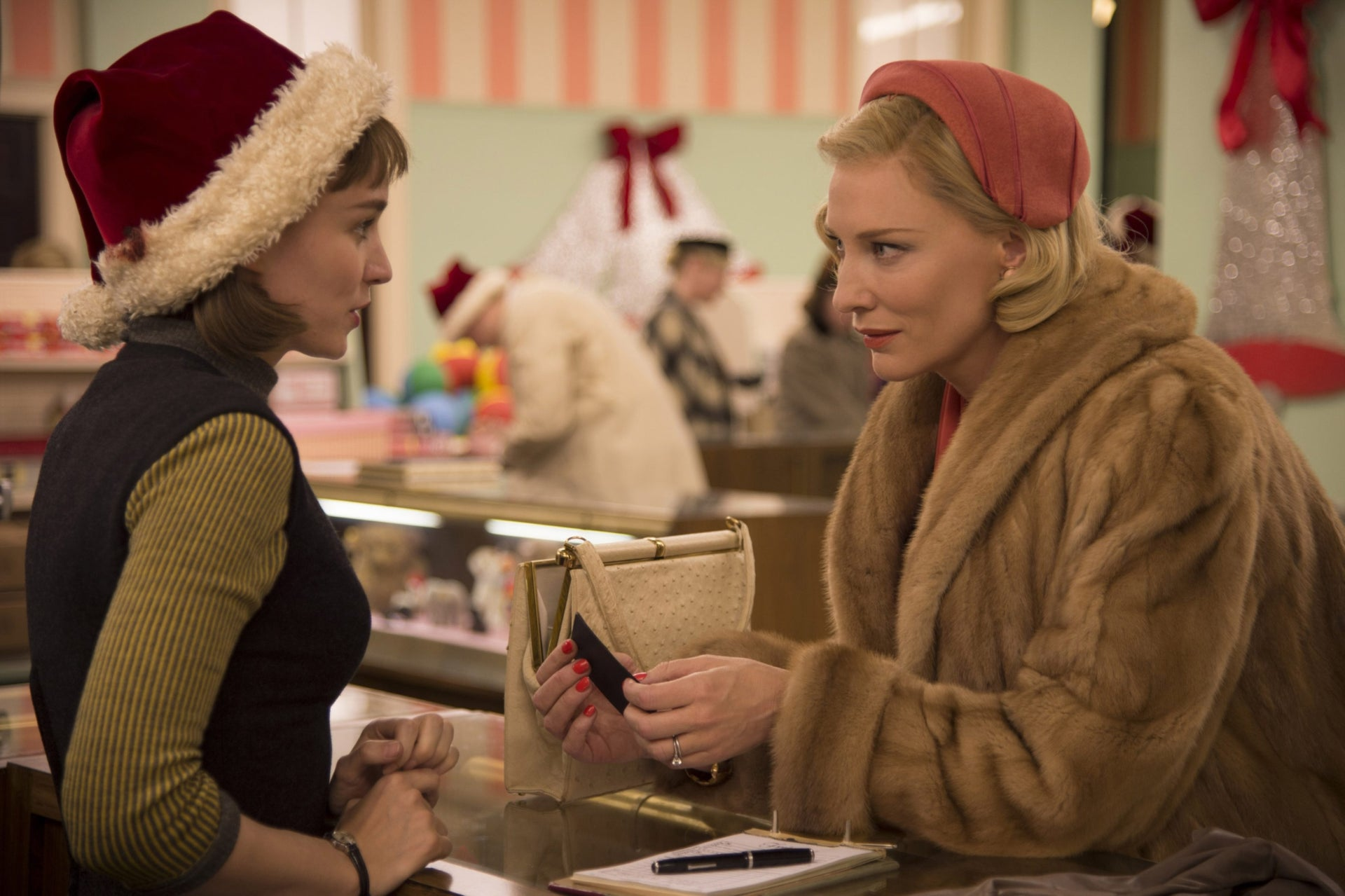 Rooney Mara, left, as Therese Belivet, and Cate Blanchett, as Carol Aird, in a scene from 'Carol.'