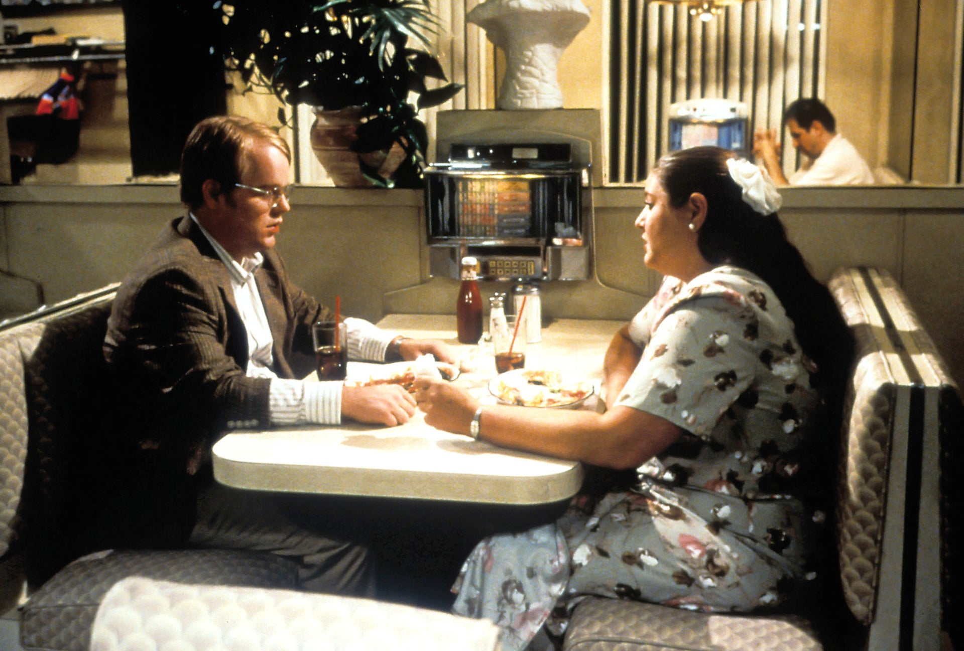 Philip Seymour Hoffman and Camryn Manheim in a scene from the film 'Happiness,' 1998.