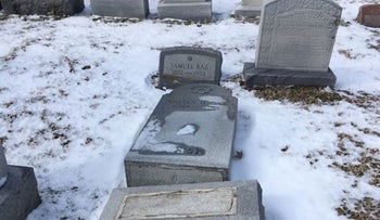 Headstones were toppled at the Waad Hakolel Cemetery, also known as the Stone Road Cemetery, in Rochester, N.Y.