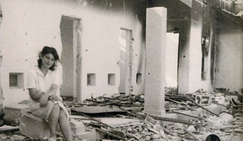 The bombed children's room at Kibbutz Sha'ar Hagolan following the War of Independence in 1948.