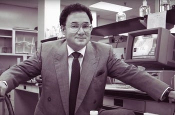 Barry Sherman posing for a photo earlier in his career at the family company he established in the 1970s, Apotex.