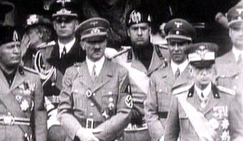 FILE PHOTO: King Victor Emanuel III, Adolf Hitler and Benito Mussolini in 1941 television file footage