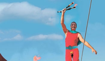 Circus artist Shambuki is one of many diverse performers to steal the spotlight at this year's Eilat Live Street Festival.