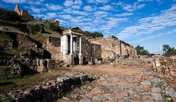 A Roman altar dedicated to Mercury stands in the entrance street to the Forum in Munigua, Spain.