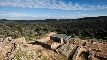 A temple located on the second terrace at excavations in Munigua, Spain.