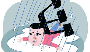 An illustration showing Sayed Kashua laying in a puddle crushed under the Hebrew letter 'Shin.
