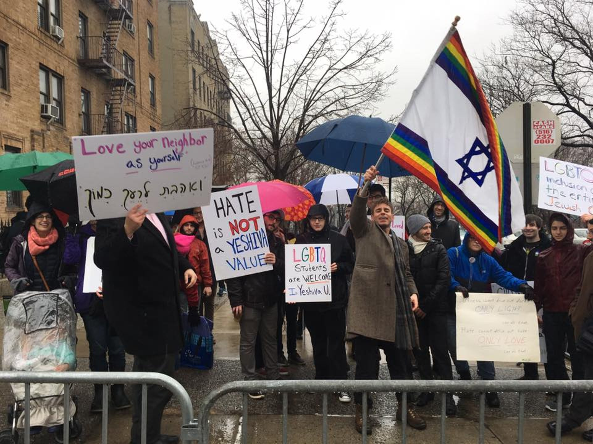 A Jewish Queer Youth protest near the Yeshiva University in New York.