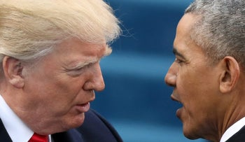 FILE PHOTO: U.S. President Barack Obama (R) greets President-elect Donald Trump at inauguration ceremonies swearing in Trump as president on the West front of the U.S. Capitol in Washington, U.S., January 20, 2017.
