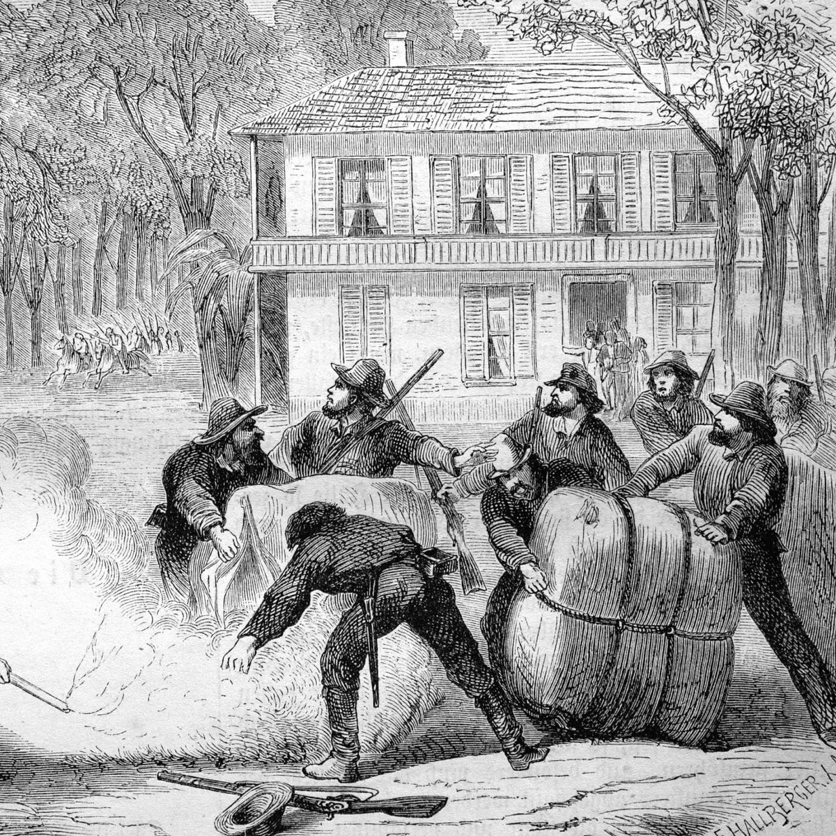 Confederate soldiers burning cotton in 1888.
