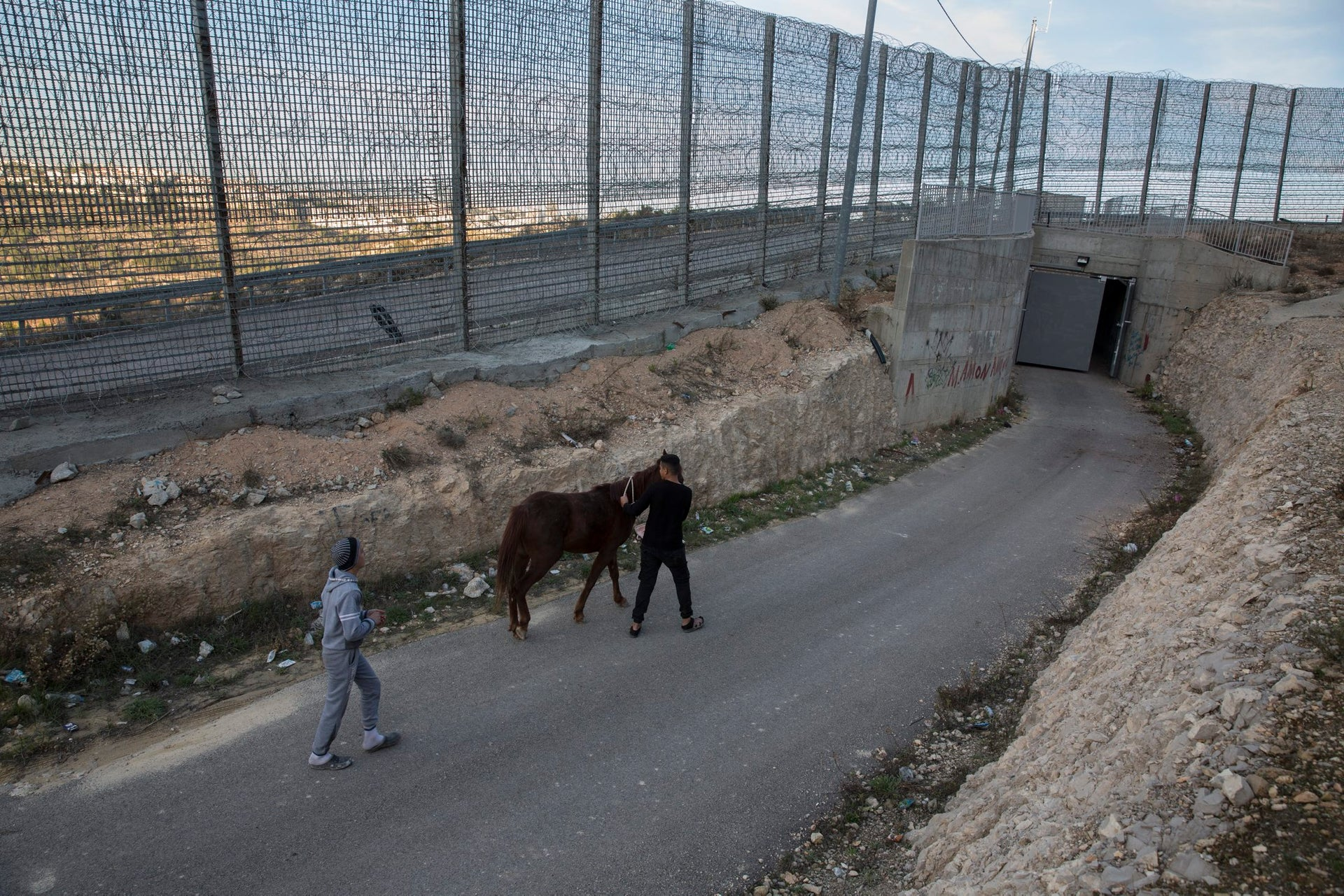 Boys walk with a horse toward the metal gate separating the Hajajleh home from the village of Al-Walaja, December 11, 2017.
