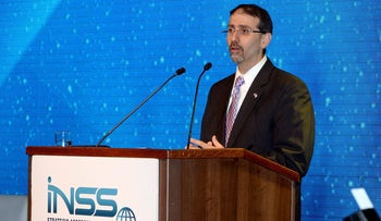 Then-U.S. envoy to Israel Dan Shapiro speaks at the 9th Annual International Conference of the Institute for National Security Studies.