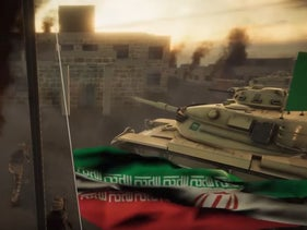 Animated video shows Saudi Arabian troops storming an Iranian compound and lowering the Iranian flag