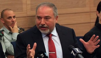 Defense Minister Avigdor Lieberman at the Knesset Foreign Affairs and Defense Committee, March 6, 2017.
