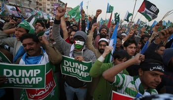 Supporters of Jamaat-e-Islami chant slogans at an anti-American rally in Karachi, Pakistan, December 17, 2017.
