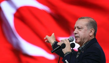 On March 5, Turkey's President Recep Tayyip Erdogan addresses the crowd at the Yahya Kemal Beyatli Show Center in Istanbul, during an event organized for the people of Tokat.