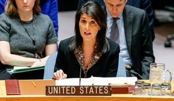 U.S. Ambassador to the UN Nikki Haley speaks during Security Council meeting over the situation in the Middle East on December 18, 2017.