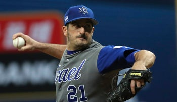 Israel's starting pitcher Jason Marquis throws against South Korea during their first round game of the World Baseball Classic at Gocheok Sky Dome in Seoul, South Korea, Monday, March 6, 2017.