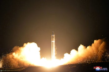A photo provided by the North Korean government shows the Hwasong-15 intercontinental ballistic missile, at an undisclosed location in North Korea on This Nov. 29, 2017