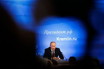 Russian President Vladimir Putin speaks during his annual news conference in Moscow, December 23, 2016.
