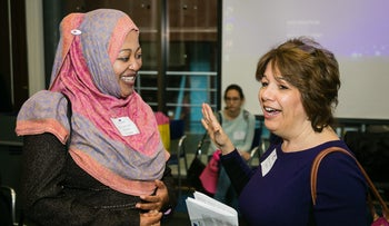 Attendees talking at the inaugural Nisa-Nashim conference in London, March 5, 2017.