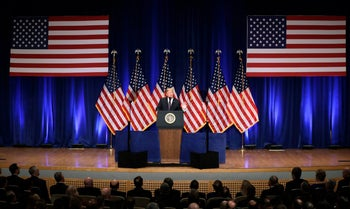 """President Donald Trump speaks on national security Monday, Dec. 18, 2017, in Washington. Trump says his new national security strategy puts """"America First."""""""