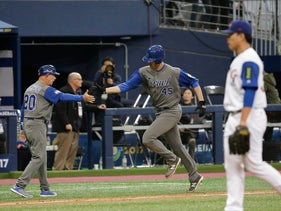 World Baseball Classic: Israel's Nate Freiman after hitting a three-run home run against Chinese Taipei in Seoul, South Korea, March 7, 2017.