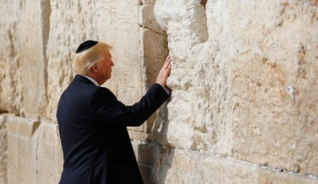 U.S. President Donald Trump at the Western Wall in Jerusalem's Old City on May 22, 2017.