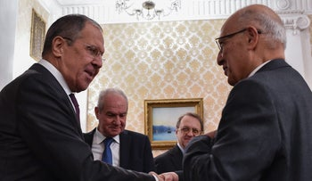 Palestinian official Nabil Sha'ath meeting with Russian Foreign Minister Sergei Lavrov on December 19, 2017.