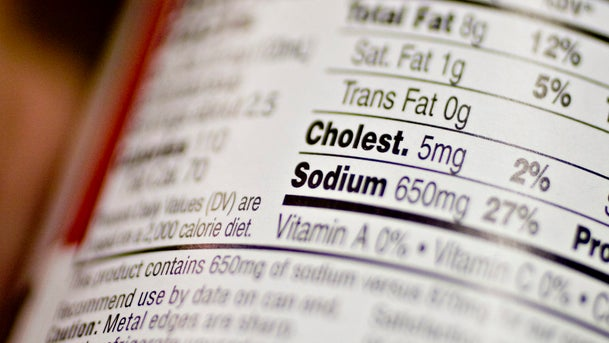 File photo: A nutrition facts label displays sodium content in a supermarket in New York, U.S.