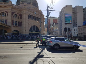 Flinders St station is blocked by the police following the car incident in Melbourne, Australia, December 21, 2017 in this picture obtained from social media.