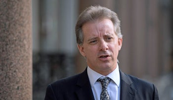 Former British intelligence officer Christopher Steele speaks to the media, London, March 7, 2017.