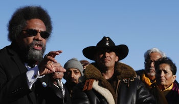 Dr. Cornel West speaks at a demonstration in December 2016 against a planned Dakota Access pipeline.