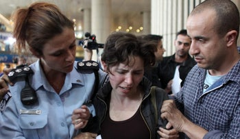 FILE PHOTO: Pro-Palestinian activists arrested after attempting a 'fly in' protest in Israel's Ben Gurion Airport