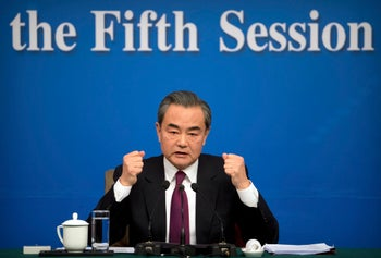 Chinese Foreign Minister, Wang Yi, at a press conference in Beijing on March 8, 2017.