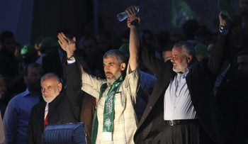 New Hamas leader Yahya Sanwar after being freed in the Gilad Shalit prisoner exchange, 2011.