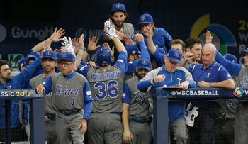 World Baseball Classic: Team Israel celebrates during their game against Taiwan, March 7, 2017.