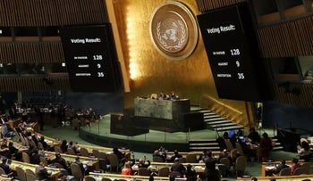 United Nations General Assembly votes on Trump's recognition of Jerusalem as Israel's capital, December 21, 2017.