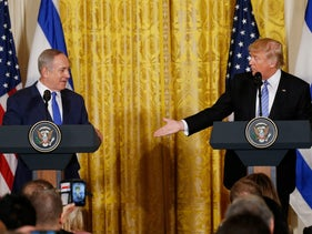U.S. President Donald Trump greeting Prime Minister Benjamin Netanyahu in Washington, U.S., February 15, 2017.