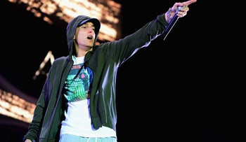 This file photo taken on July 31, 2014 shows Eminem performing at Samsung Galaxy stage during 2014 Lollapalooza Day One at Grant Park in Chicago, Illinois.