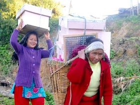 Women participating in the HoneyAID project carry beehives.