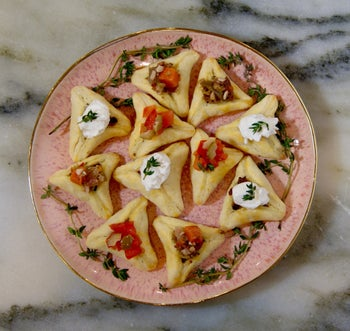 Savory hamantaschen with eggplant and cheese.